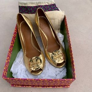 Gold Tory Burch Wedges